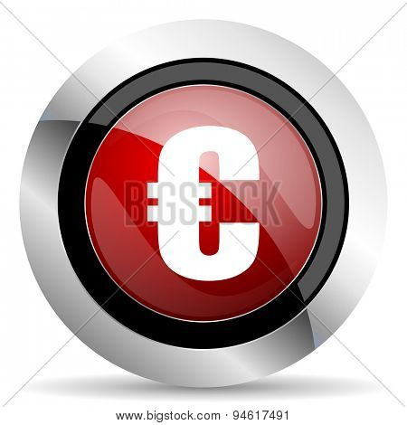 euro red glossy web icon original modern design for web and mobile app on white background