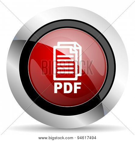 pdf red glossy web icon, original modern design for web and mobile app on white background