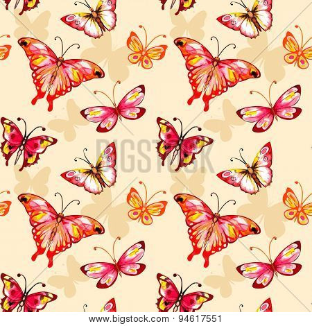Flying watercolor butterfly seamless pattern. Vector background.