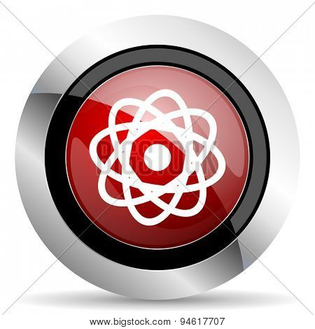 atom red glossy web icon original modern design for web and mobile app on white background