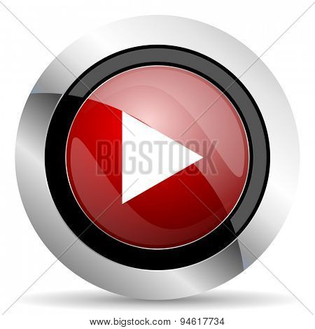 play red glossy web icon original modern design for web and mobile app on white background