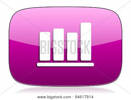 bar chart violet icon  original modern design for web and mobile app on white background with reflection