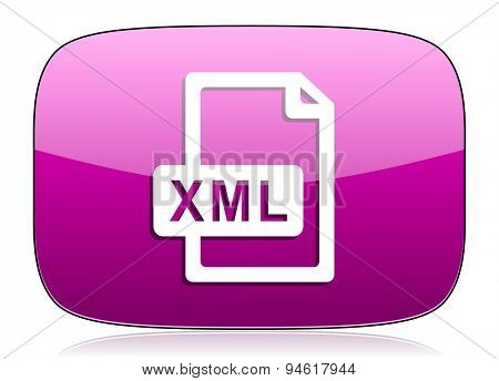 xml file violet icon  original modern design for web and mobile app on white background with reflection