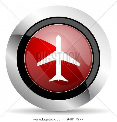 plane red glossy web icon original modern design for web and mobile app on white background