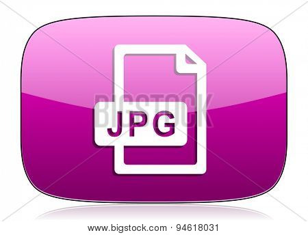jpg file violet icon  original modern design for web and mobile app on white background with reflection