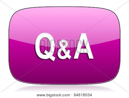 question answer violet icon  original modern design for web and mobile app on white background with reflection