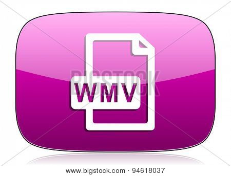 wmv file violet icon  original modern design for web and mobile app on white background with reflection