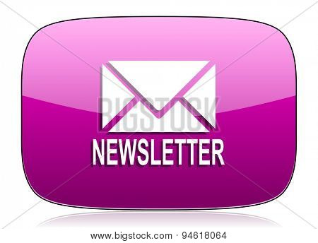 newsletter violet icon  original modern design for web and mobile app on white background with reflection