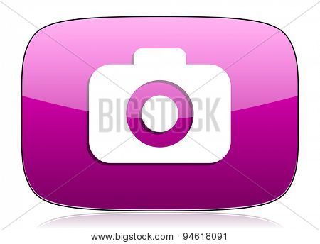 photo camera violet icon photography sign original modern design for web and mobile app on white background with reflection