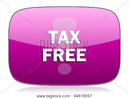 tax free violet icon  original modern design for web and mobile app on white background with reflection