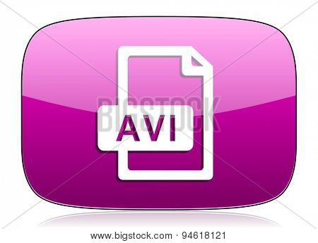 avi file violet icon  original modern design for web and mobile app on white background with reflection