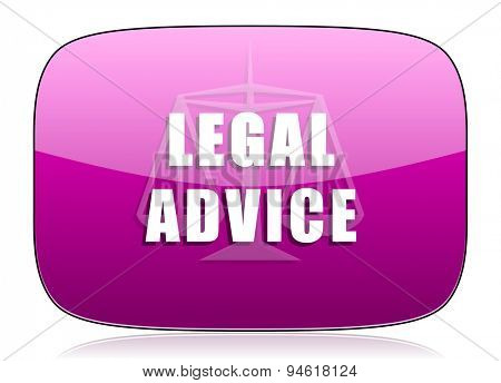 legal advice violet icon law sign original modern design for web and mobile app on white background with reflection