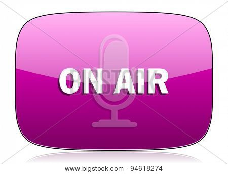 on air violet icon  original modern design for web and mobile app on white background with reflection
