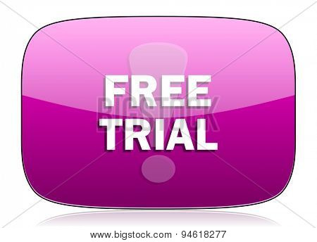 free trial violet icon  original modern design for web and mobile app on white background with reflection
