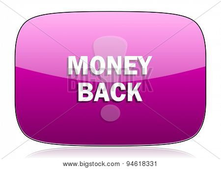 money back violet icon  original modern design for web and mobile app on white background with reflection