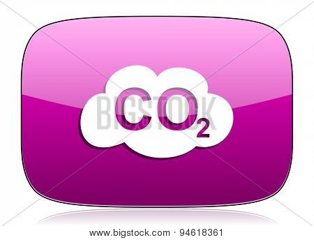 carbon dioxide violet icon co2 sign original modern design for web and mobile app on white background with reflection