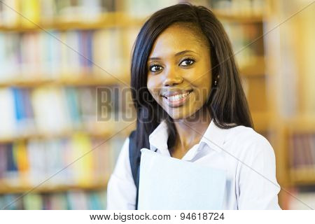 close up portrait of pretty african american university student