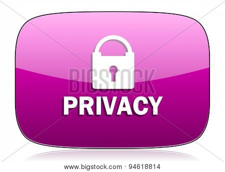 privacy violet icon  original modern design for web and mobile app on white background with reflection