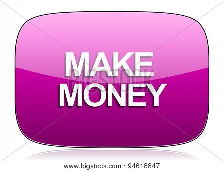 make money violet icon  original modern design for web and mobile app on white background with reflection