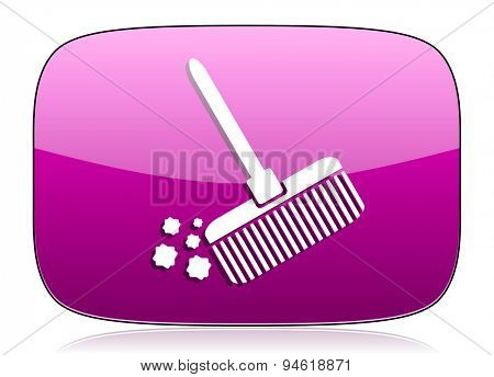 broom violet icon clean sign original modern design for web and mobile app on white background with reflection