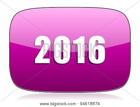 new year 2016 violet icon new years symbol original modern design for web and mobile app on white background with reflection