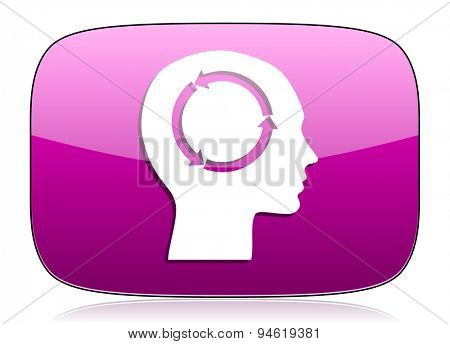 head violet icon human head sign original modern design for web and mobile app on white background with reflection