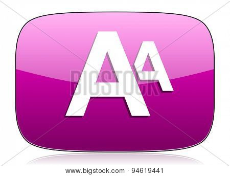 alphabet violet icon  original modern design for web and mobile app on white background with reflection