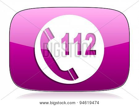 emergency call violet icon 112 call sign original modern design for web and mobile app on white background with reflection