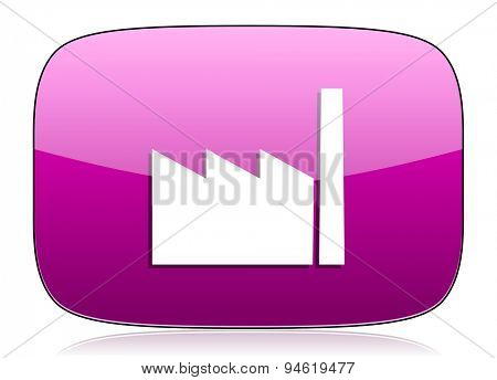 factory violet icon industry sign manufacture symbol original modern design for web and mobile app on white background with reflection