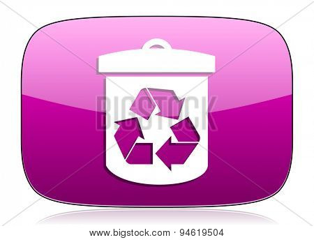recycle violet icon recycling sign original modern design for web and mobile app on white background with reflection