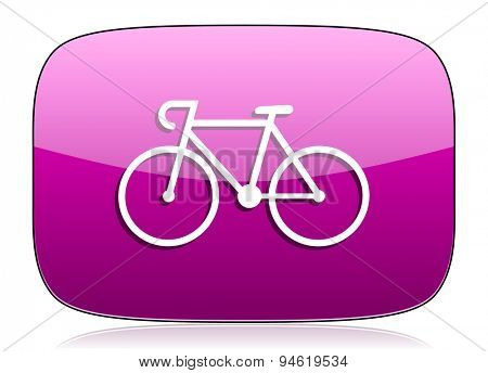 bicycle violet icon bike sign original modern design for web and mobile app on white background with reflection