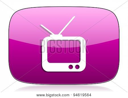 tv violet icon television sign original modern design for web and mobile app on white background with reflection
