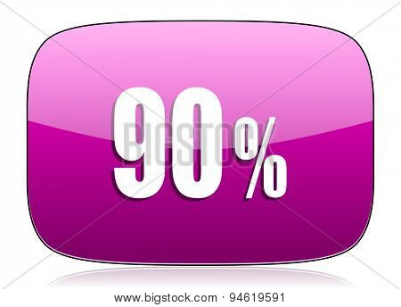 90 percent violet icon sale sign original modern design for web and mobile app on white background with reflection