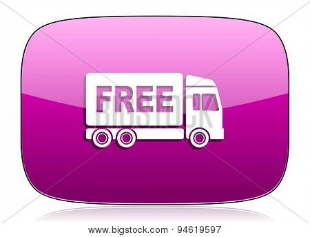 free delivery violet icon transport sign original modern design for web and mobile app on white background with reflection