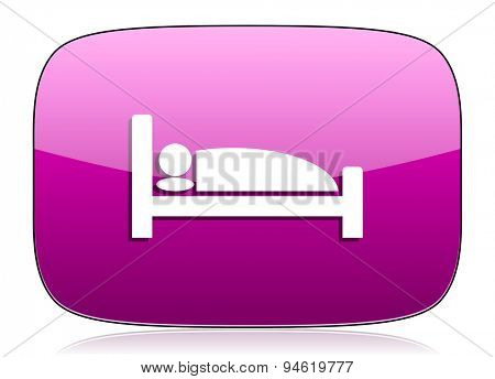 hotel violet icon bed sign original modern design for web and mobile app on white background with reflection
