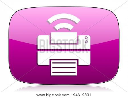 printer violet icon wireless print sign original modern design for web and mobile app on white background with reflection