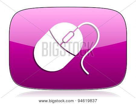 computer mouse violet icon  original modern design for web and mobile app on white background with reflection