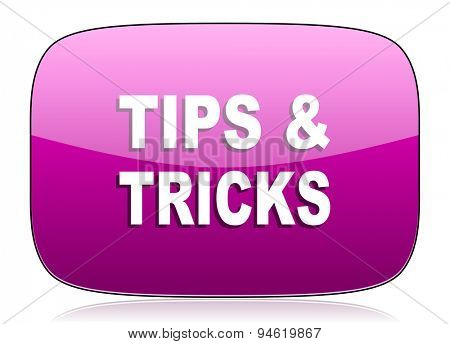 tips tricks violet icon  original modern design for web and mobile app on white background with reflection