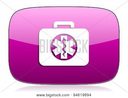 rescue kit violet icon emergency sign original modern design for web and mobile app on white background with reflection