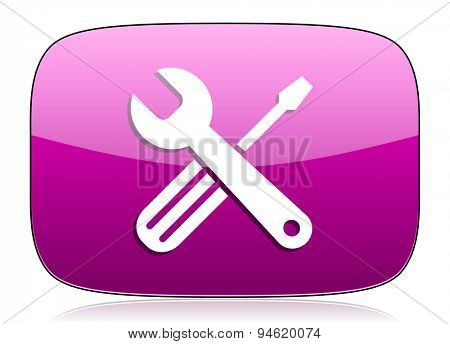 tools violet icon service sign original modern design for web and mobile app on white background with reflection