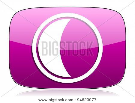 moon violet icon sleep sign original modern design for web and mobile app on white background with reflection