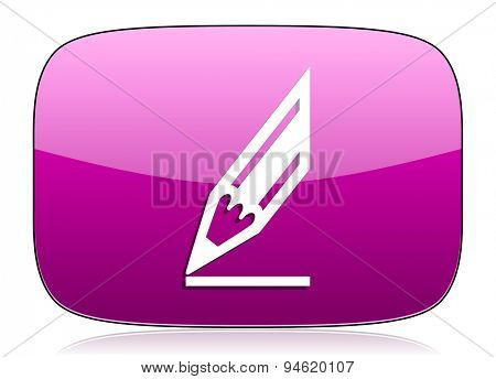 pencil violet icon draw sign original modern design for web and mobile app on white background with reflection