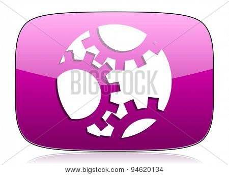 gear violet icon settings sign original modern design for web and mobile app on white background with reflection