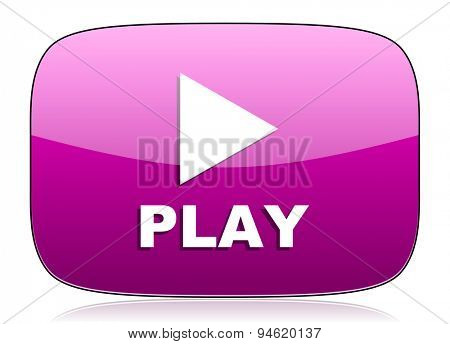 play violet icon  original modern design for web and mobile app on white background with reflection