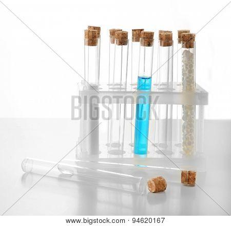 Empty laboratory test tubes isolated on white
