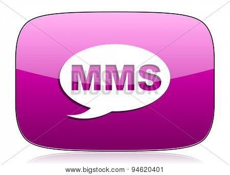mms violet icon message sign original modern design for web and mobile app on white background with reflection