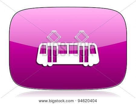 tram violet icon public transport sign original modern design for web and mobile app on white background with reflection