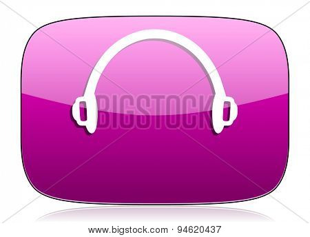 headphones violet icon  original modern design for web and mobile app on white background with reflection