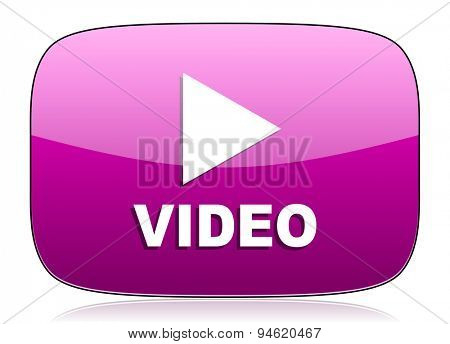 video violet icon  original modern design for web and mobile app on white background with reflection