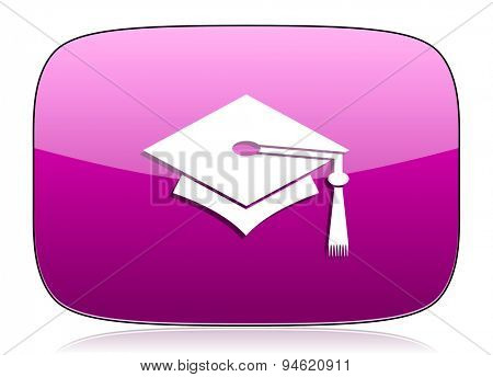 education violet icon graduation sign